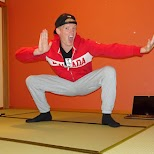 my E.Honda pose in the $50 Ryokan Gaku Guesthouse in Gora, Hakone in Hakone, Kanagawa, Japan