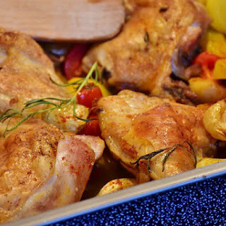 Roasted Chicken Thighs and Legs with Vegetables