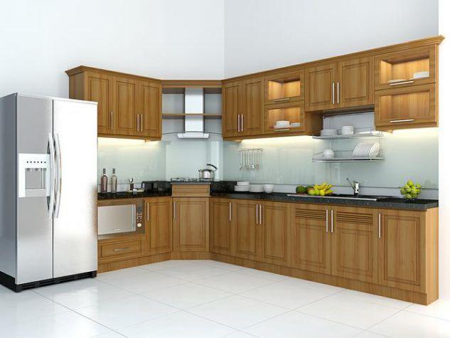 mẫu tủ bếp gỗ đẹp hiện đại bằng gỗ tự nhiên