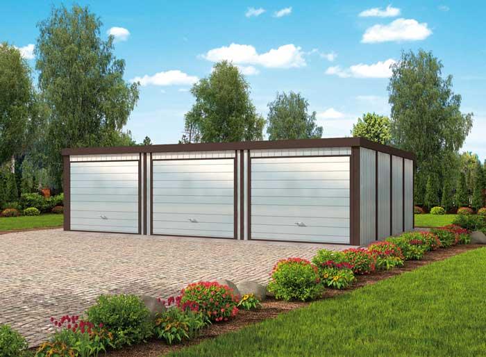 Projekt Garażu Gb54 Garaż Blaszany Trzystanowiskowy Tkn 932 5976m²