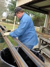 Photo: Pete Greene getting ready to weld engine barn rail together.    2014-0104 RPW