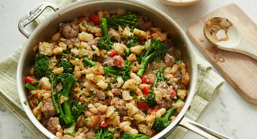 New-mom meal: Creamy white beans with sausage, broccolini & bread crumbs