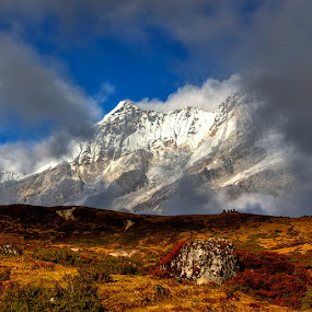 Peek a Boo by Mrigankamouli Bhattacharjee - Landscapes Mountains & Hills ( clouds, mountain, dzongri, meadow, india, pandim, shade, himalayas, sikkim )