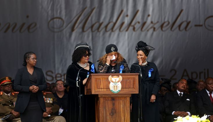 Zenani Mandela, Nelson Mandela and Winnie Madikizela-Mandela's daughter, gets emotional during her speech at the Orlando stadium during her mother's funeral in Soweto, April 14, 2018.