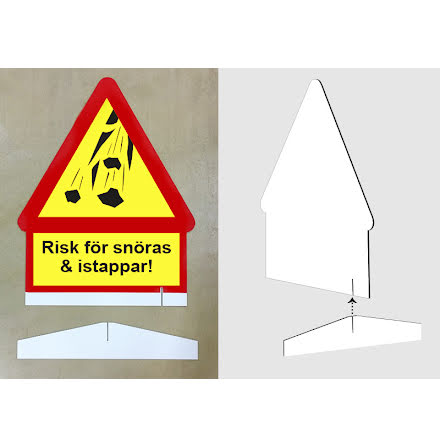 Risk för snöras, enkelsidig skylt