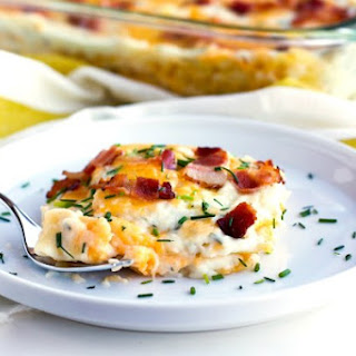 Cheesy Pierogi Lasagna with Bacon and Chives