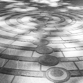 Circles in park by Gwyn Goodrow - Abstract Patterns ( urban, park, street, outdoors, ground, washington dc, circle, light contrasts, concrete, shadows, shapes, city )