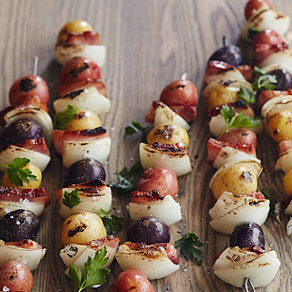 Grilled Potato, Onion, and Bacon Skewers