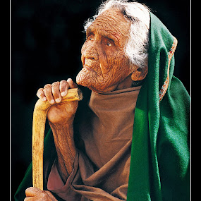 Mirzan Mai by Sami Ur Rahman - People Portraits of Women ( old age, walking stick, wrinkled face, light & shade, studio image,  )