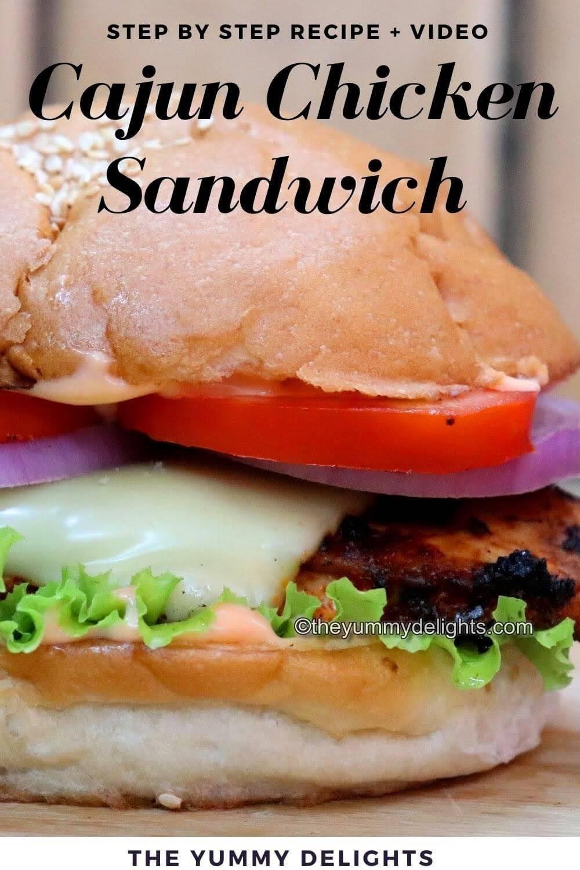 close-up image of cajun chicken sandwich