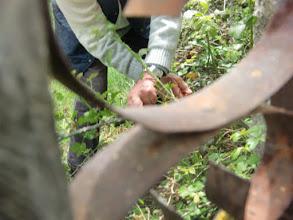 Photo: Abril de 2011. Cortando zarzas para poder acceder por la maltrecha puerta.