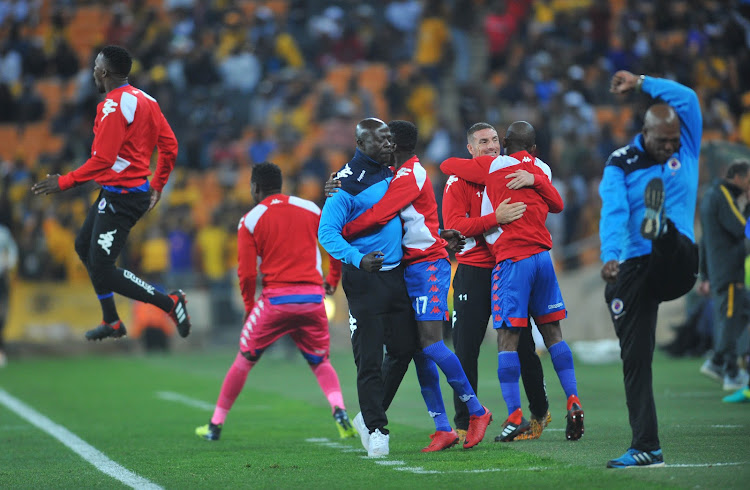 Kaitano Tembo coach of Supersport United celebrates with his bench during the MTN8 Semi Final 2nd Leg match between Kaizer Chiefs and Superspot United on the 01 September 2018 at FNB Stadium.