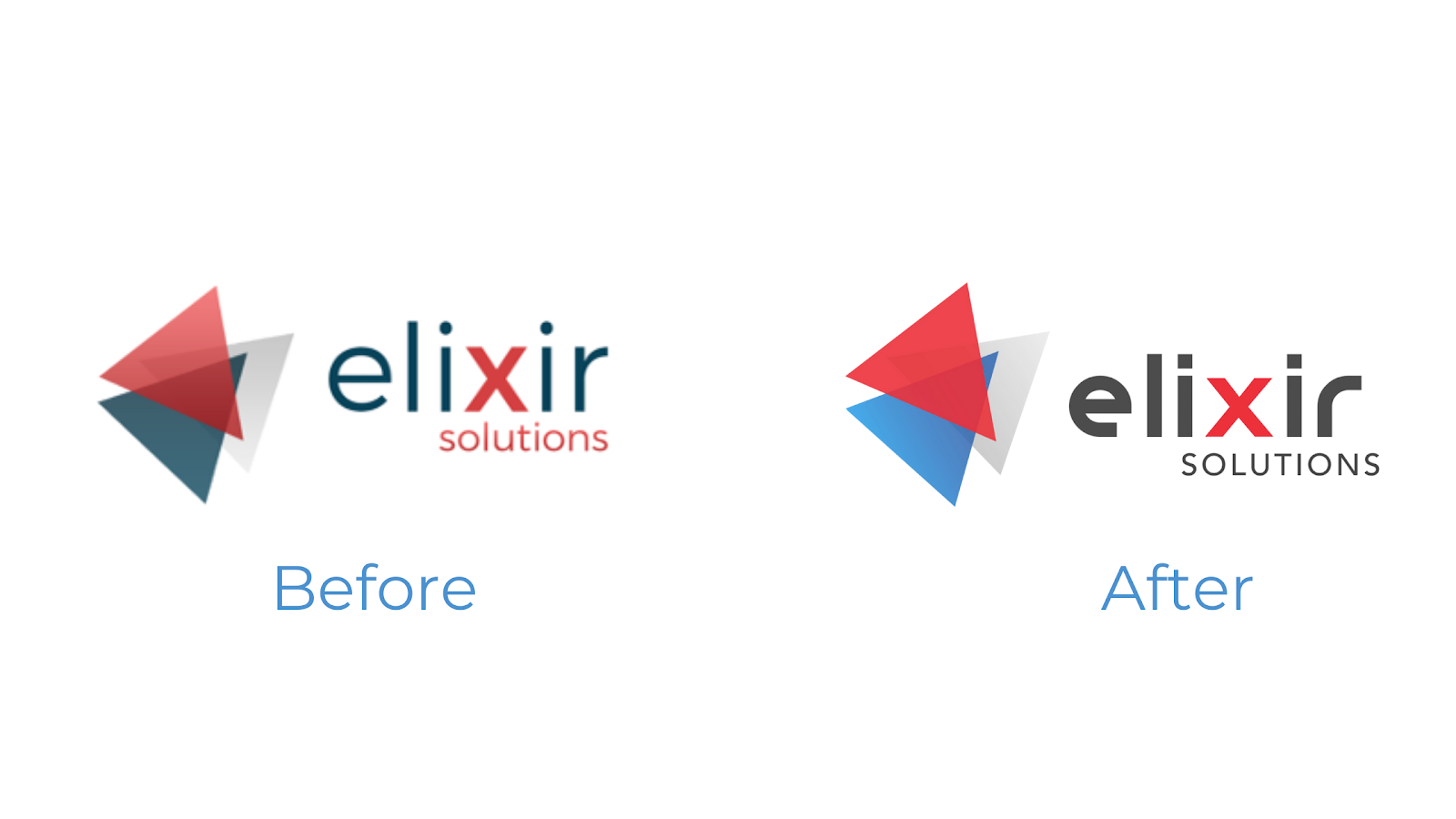 old versus new logo Elixir Solutions