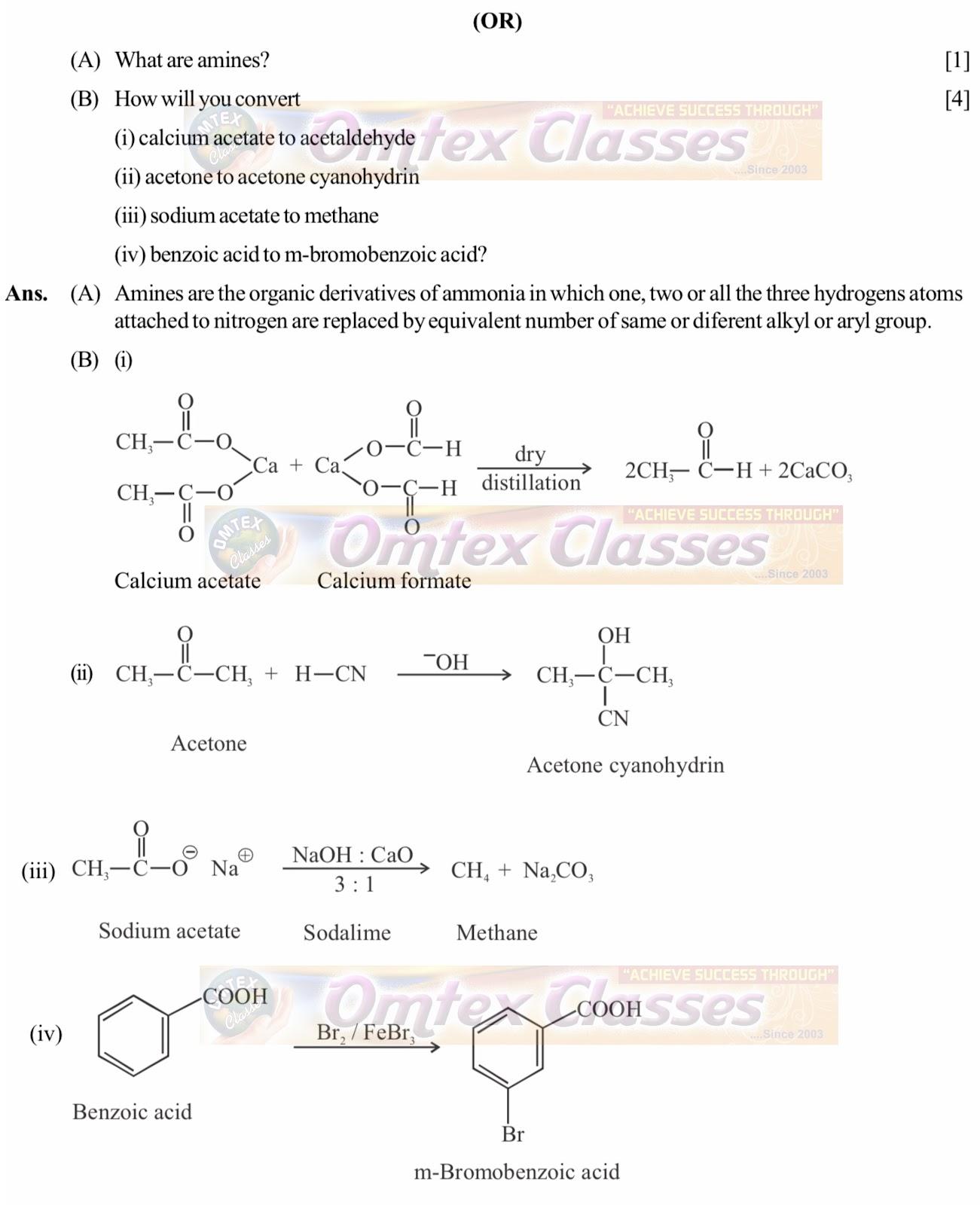 OMTEX CLASSES MAHARASHTRA : Chemistry exam Paper Solution