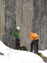Photo: Rockstar climbers, Dan and Austin, heading up a steep dry-tool route.