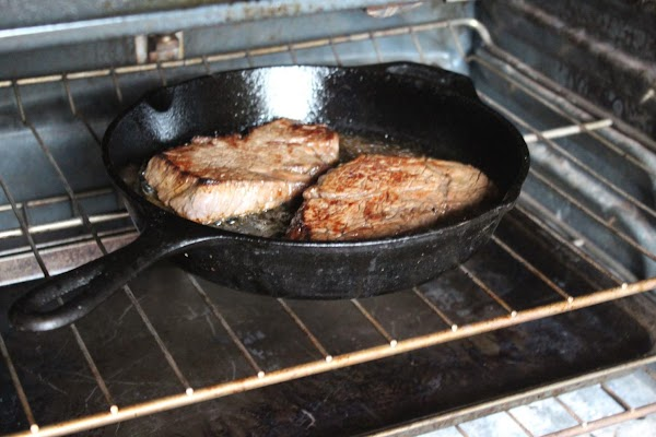 Place the skillet in the oven for 15-20 minutes, depending on the thickness of...