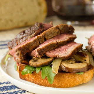 Theater Steak with Mushrooms, Onions & Grilled Bread.