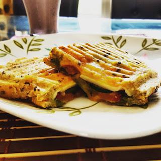 Double Cheese Toasted Veggie Coriander Chutney Sandwich