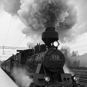 Steam locomotive by Simo Järvinen - Black & White Objects & Still Life ( monochrome, black and white, locomotive, outdoor, train, transportation, steam )