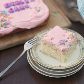 Yellow Cake with Pink Frosting