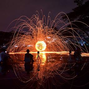 we love steel wool by Arifandi Krembong - Abstract Fire & Fireworks ( jember, steel, wool, nikon d7000, fire, holiday lights )