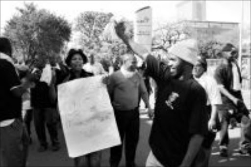INCREASE DEMAND: SABC workers picketing outside SABC offices in Durban. Pic: THULI DLAMINI. Circa July 2009. © Sowetan