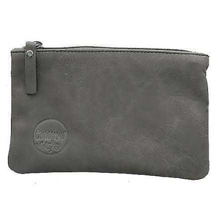 Mini väska grå i skinn med kreditkortsficka