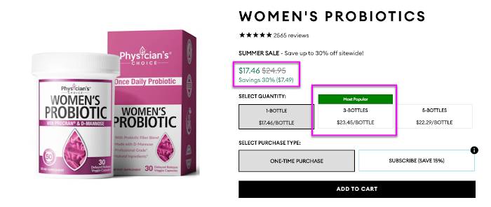 Physician's Choice women's probiotics product upsell.