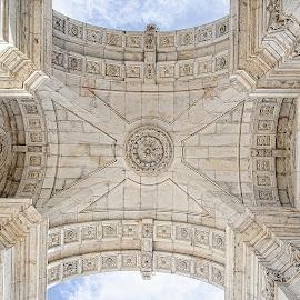 Underneath the Arco da Rua Augusta by Edison Pargass - Buildings & Architecture Statues & Monuments ( sky, lisbon, portugal, column, historical, arch, arco de rua augusta, architecture, stone )