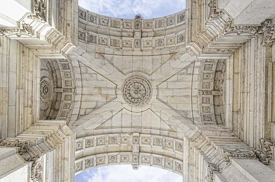 Underneath the Arco da Rua Augusta by Edison Pargass - Buildings & Architecture Statues & Monuments ( sky, lisbon, portugal, column, historical, arch, arco de rua augusta, architecture, stone )
