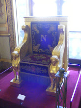 Photo: This is the throne used by Napoleon I when attending meetings of the Sénat Conservateur - an advisory rather than a legislative body. Completed in 1804 by cabinetmakers Georges Jacob and Jacob-Desmalter from a design by architect Jean-François Chalgrin, the throne is gilt covered, with red velvet and gold embroidery which includes the bee, an imperial emblem.