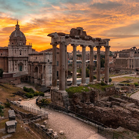Sunrise over the Forum by Ryan Inhof - City,  Street & Park  Historic Districts ( rome, roman forum, sunrise, ruins, italy )