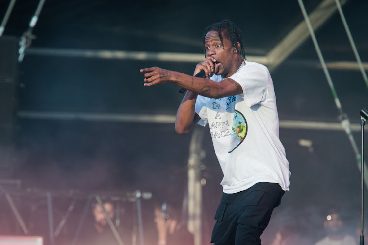 Travis Scott performs during Lollapalooza Festival at Hippodrome de Longchamp on July 21 2018 in Paris, France.