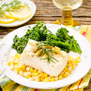 Grilled Halibut with White Wine Sauce.