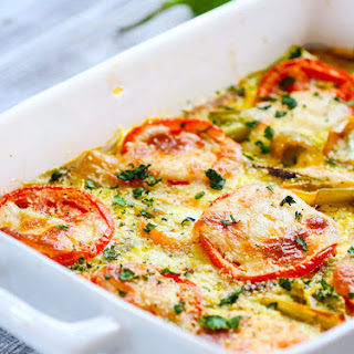 Hatch Green Chile and Tomato Casserole {Gluten Free, Vegetarian}.