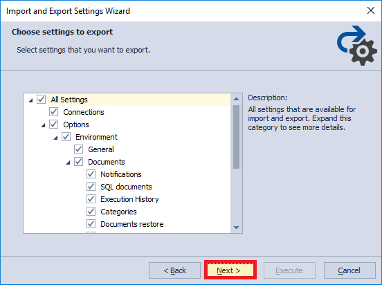 Selecting Data to export