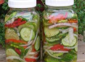 Mix cucumbers, onions, peppers and salt; set a side  Put vinegar, sugar, garlic, celery seed...