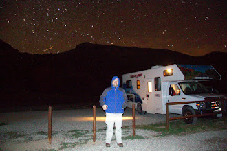 Photo: Me, RV and airplane in the night sky. It was a very cold night...