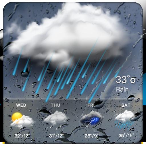 Clock & Weather - Rainy
