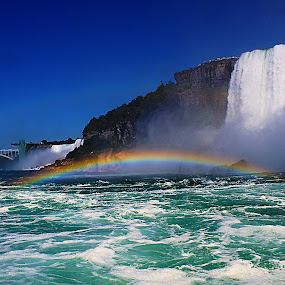 Rainfall at Niagara Falls by Mili Shrivastava - Landscapes Waterscapes ( niagara falls, waterfall, rainbow, garyfonglandscapes, holiday photo contest, photocontest, , color, colors, landscape, portrait, object, filter forge )