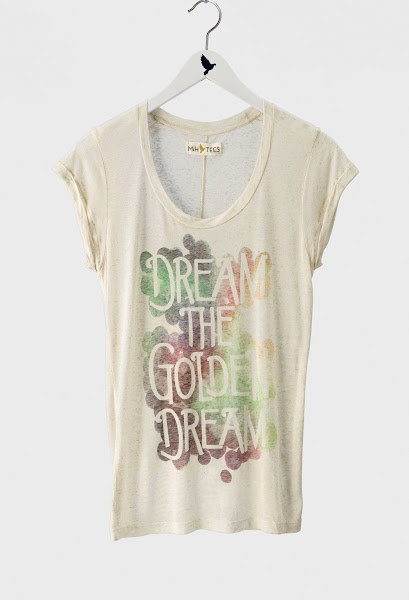 Photo: The MiH Jeans Golden Dream Tee. Shop this style http://www.mih-jeans.com/chloe-lonsdale-picks/the-dream-the-golden-dream-print-tee-off-white.html