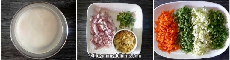 Soak rice in water for 30 minutes to make vegetable pulao recipe