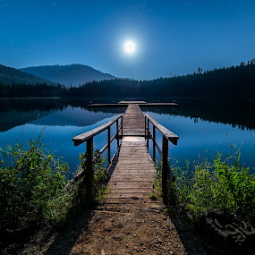 No Hurry by James Wheeler - Landscapes Starscapes ( nobody, constellation, mountain, wood, bright, vibrant, travel, dock, nature, dark, pier, light, british columbia, canada, majestic, tourism, leisure, lake, astronomy, moonlight, stars, natural, outside, calm, exposure, reflection, moon, colorful, beauty, landscape, clear, tranquil, dramatic, rocks, evening, starscape, clouds, water, whistler, peaceful, lost lake, beautiful, relaxation, scenic, mount, blue, wide angle, background, outdoor, night, scenery )