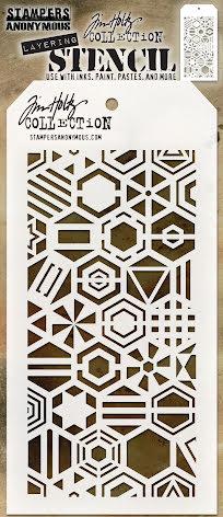 Tim Holtz Layered Stencil 4.125X8.5 - Patchwork Hex