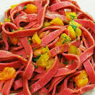 Beet Tinted Pasta with Fresh Tomato Sauce