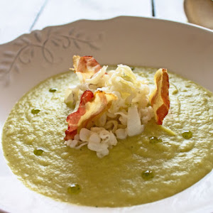 Broccoli Soup with Cuttlefish Noodles and Iberian Bacon