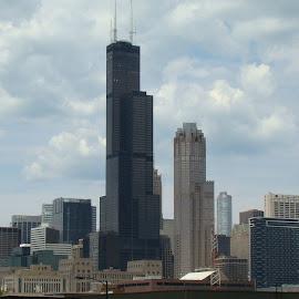 Chicago Skyline 4 by Yvonne Collins - City,  Street & Park  Street Scenes