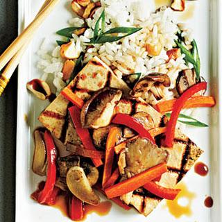 Tofu Steaks with Shiitakes and Veggies.
