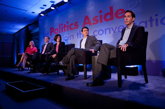 """Photo: (Left to right): Sharon Begley (moderator), William Frist, Gail Wilensky, David Goldhill and Arthur Kellermann during the """"Health Care: Will the Cost Kill Us"""" panel discussion Friday, Nov. 16 at the RAND Politics Aside Event."""