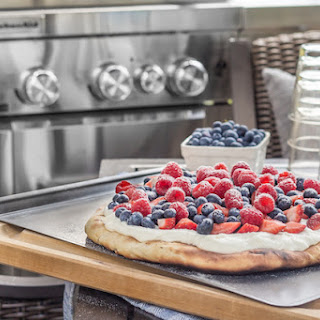 Honey Wheat Grilled Flatbread with Fresh Berries and Whipped Ricotta.